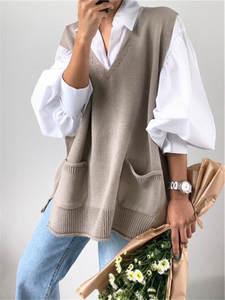 RUGOD Knitted Sweater Split-Vest Vintage V-Neck Autumn Winter Plus-Size Kpop Chic Solid