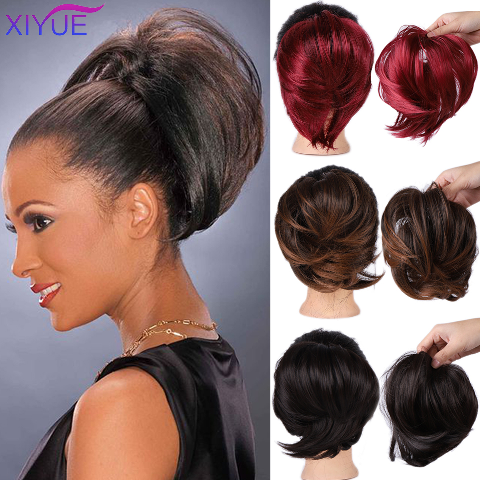 Short Straight Chignon With Elastic Band Synthetic Scrunchie Messy Hair Bun High Temperature Fiber Hairpieces Extensions Free Sh
