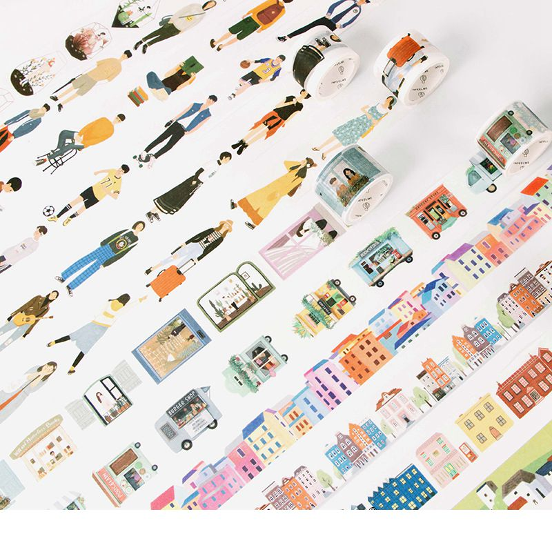 Lovely Life Cute Cartoon Washi Paper Tapes Set High Quality Adhesive Masking Tapes 24PCS/LOT