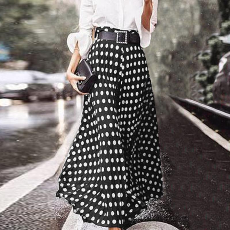 Women's Casual Vetidos 2020 ZANZEA Elegant Polka Dot Printed Skirts Casual Zipper Maxi Skirts Female High Waist Robe Oversized