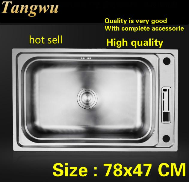 Free Shipping Household Multifunction High Qual Kitchen Single Trough Sink Do The Dishes 304 Stainless Steel Hot Sell 780x470 MM
