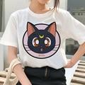 Летняя женская одежда с коротким рукавом Сейлор Мун Харадзюку, забавная Женская модная футболка, футболка с графическим рисунком для девоч...