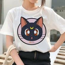 Marinheiro lua mulher harajuku verão roupas de manga curta engraçado moda feminina camiseta gráfico meninas ulzzang gato dos desenhos animados tshirt