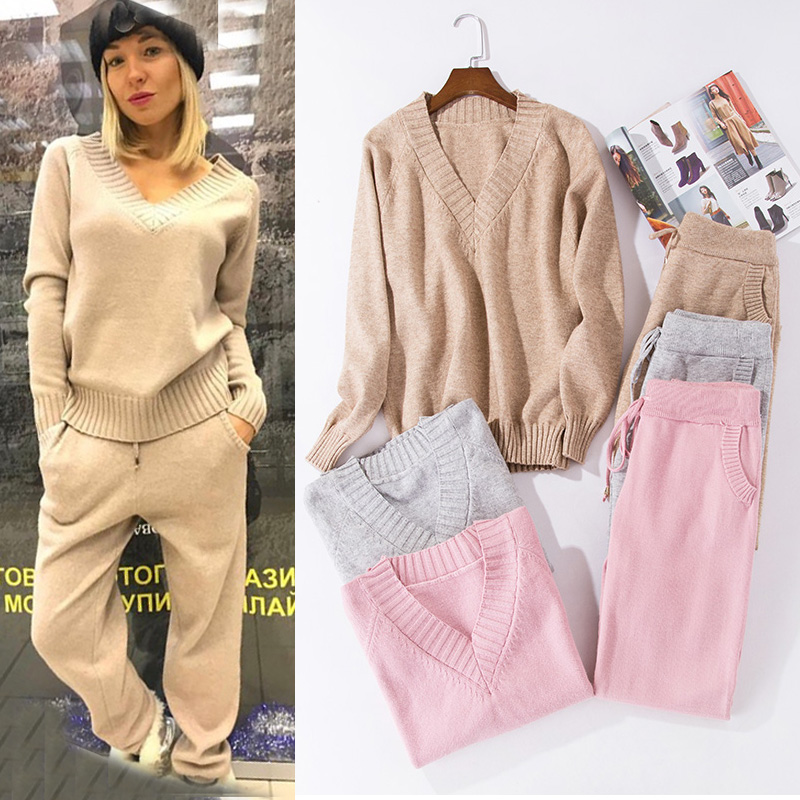 Women Track Suits Sets Autumn Winter V-neck Pullovers + Long Pants Sets Soft Warm Knitted Sweater Track Suits