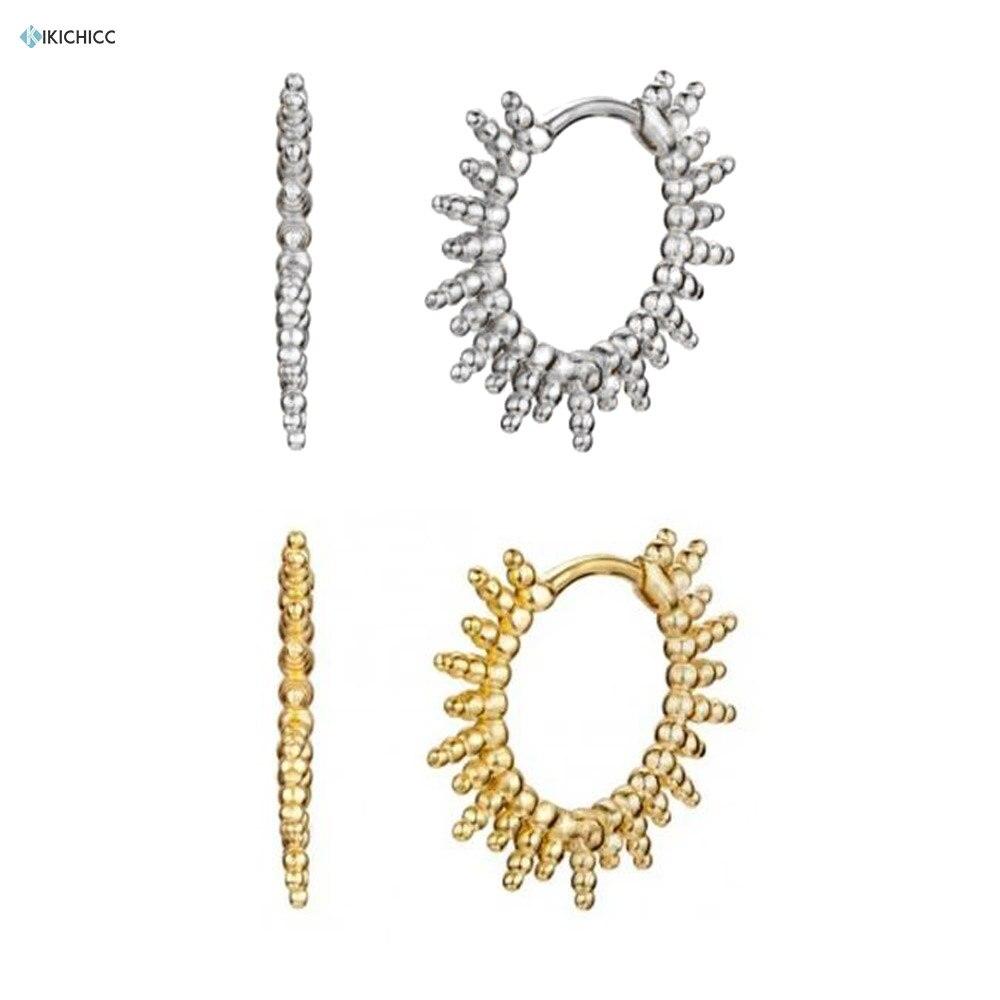 Kikichicc 100% Real 925 Sterling Silver 11.5mm Beads Spike Huggies Hoops Earring Jewelry 2020 Rock Punk Thin Big Piercing Jewels