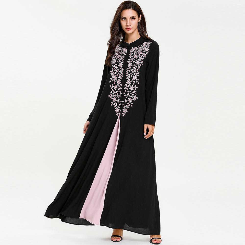 Artı boyutu müslüman sahte iki parçalı Maxi elbise kadınlar standı yaka nakış bölünmüş başörtüsü elbiseler Musulman Kimono İslam giyim