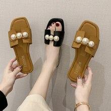 Zapatillas de verano con cuentas de cuero PU para mujer