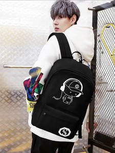 Lock Daypack School-Bag Shoulder Anime Oxford with Usb-Charging-Port And Boy Black Luminous
