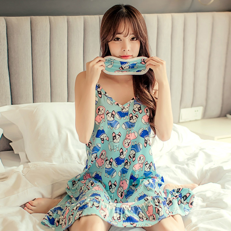 Nightgown Female Summer Qmilch Camisole-Students Cute Full Body Dress Pajamas Korean-style Summer Thin Section Home Wear