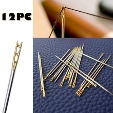 needles 12PCS Thick Big Eye Sewing Self-Threading Needles Embroidery Hand Sewing Simple Large hole knitting embroidery needle(China)