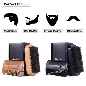 Image 2 - New 3Pcs/lot Natural Beech Styling Tools Comb Beard Shaping Tool Styling Template With Small Scissors Beard Care Grooming Kit
