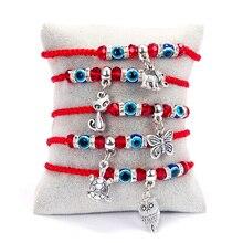 Rinhoo Lucky Красная Нить подвеска с амулетом Хамса Браслет синий Турецкий Дурной глаз Шарм для женщин мужчин ручной работы Дружба Ювелирные изделия подарок