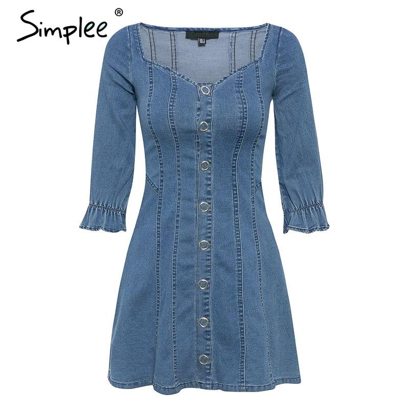 Simplee A-line denim blue women dress Elegant high waist button female autumn dress Elastic puff sleeve ladies party dress 2019