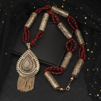 Moroccan Style Breast Accessories Red Bead Strings Handmade Wedding Jewelry Necklace Dubai Fashion Women's Wedding Breast Chain 2