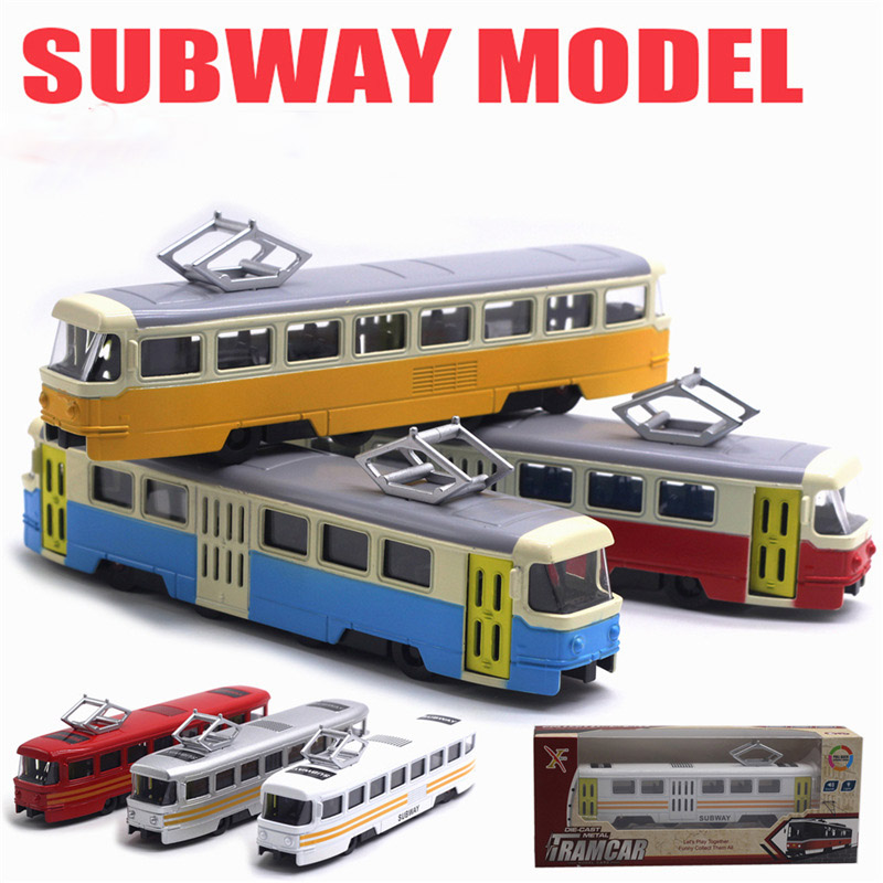 1/90 Simulation Alloy Tram Model Toy Cars Sound and Light Music Subway Bus Toys With Original Package(China)