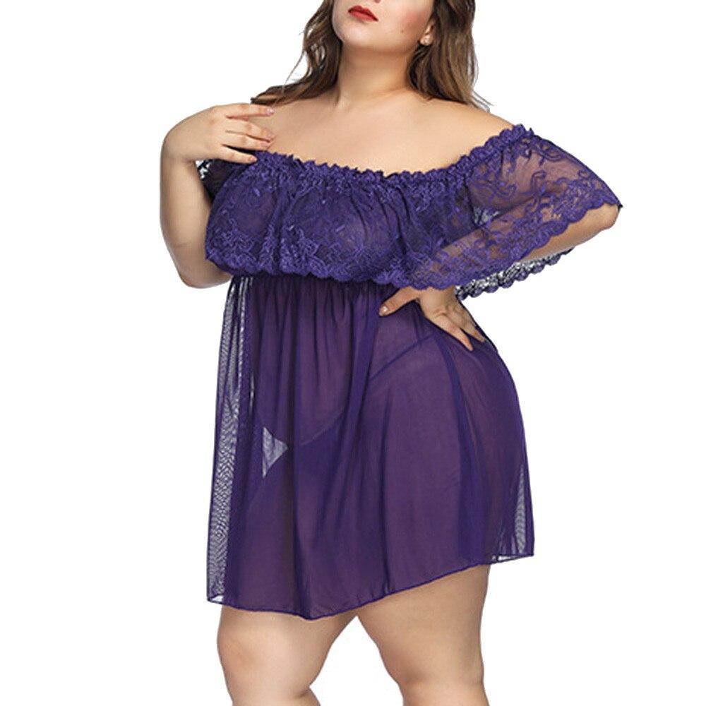 Plus Size 7XL Women's Nightgown Sexy Lingerie Lace Babydoll Sleepwear Nightdress Sexy Underwear Nightwear Lady's Mini Dress Hot