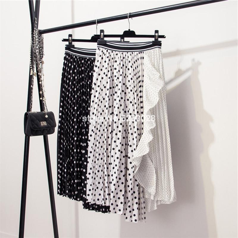 Summer Skirts Womens Fashion Black White Polka Dot Patchwork Pleated Skirt Ladies Elastic High Waist Irregular Ruffle Midi Skirt