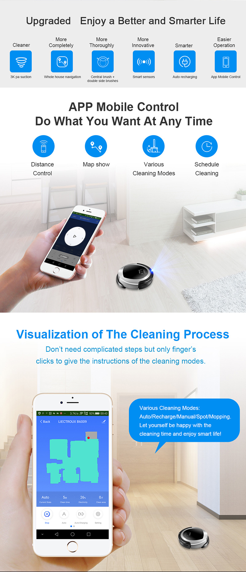 H3b2644cef649475da02afa6236011a6aG (FBA)LIECTROUX Robot Vacuum Cleaner B6009,Map Navigation,Smart Memory,Suction 3000pa,Dual UV Lamp,Wet Dry Mop,Wifi App aspirador
