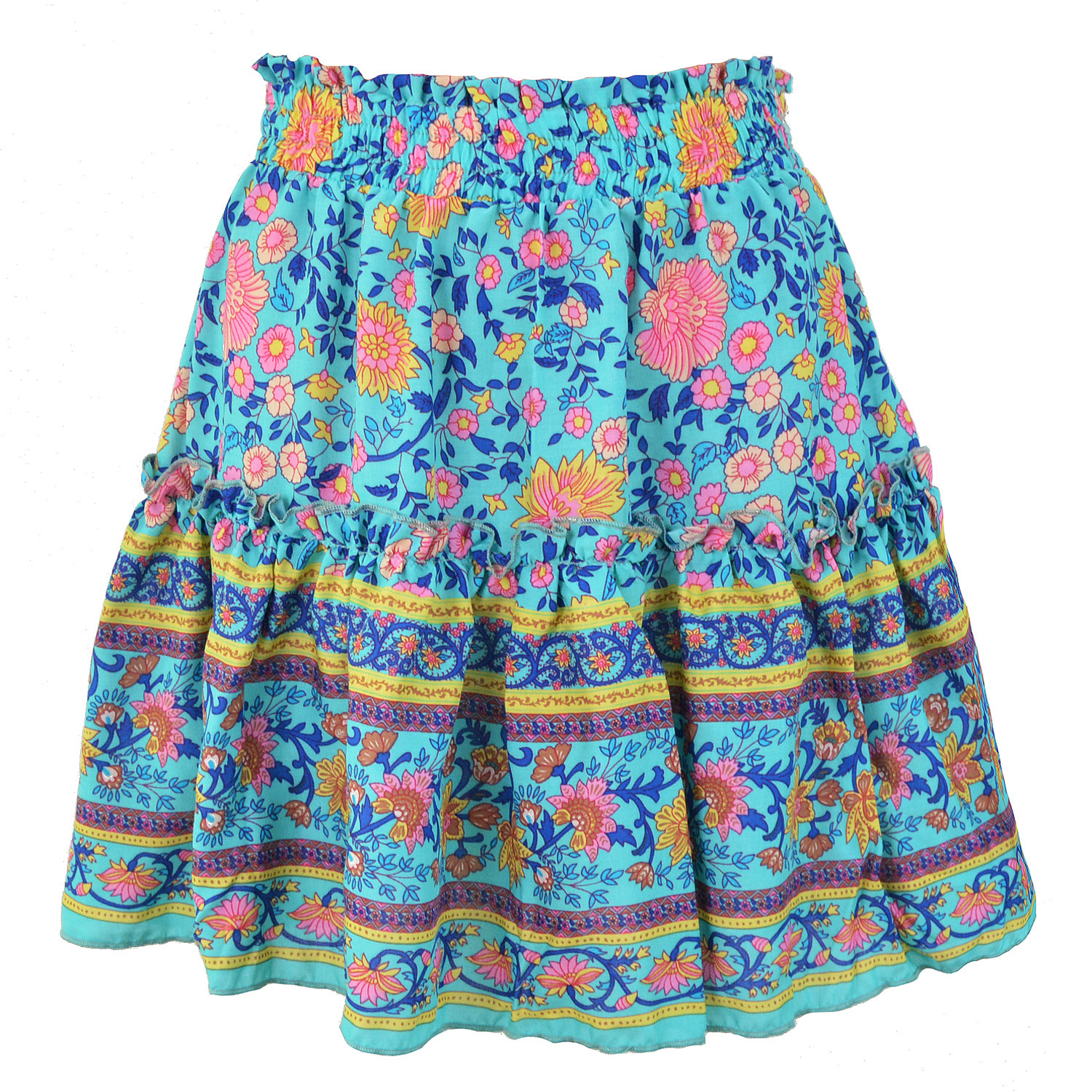 Women Bohemian Beach Style Skirt Ladies A-Line Above Knee Mini Empire Ruffles Vintage Floral Print Skirts