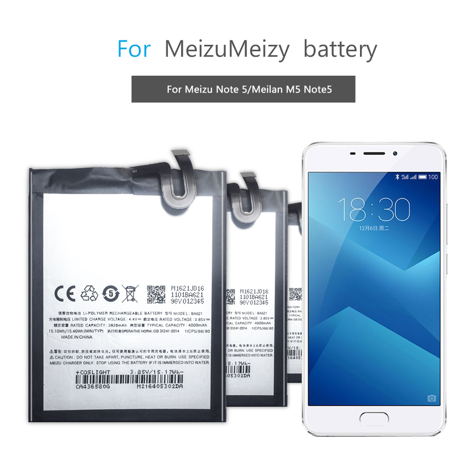 Mobile Phone Battery For <font><b>Meizu</b></font> Meilan Note5 M5 Note 5 Replacement Battery <font><b>BA621</b></font> 4000mAh image