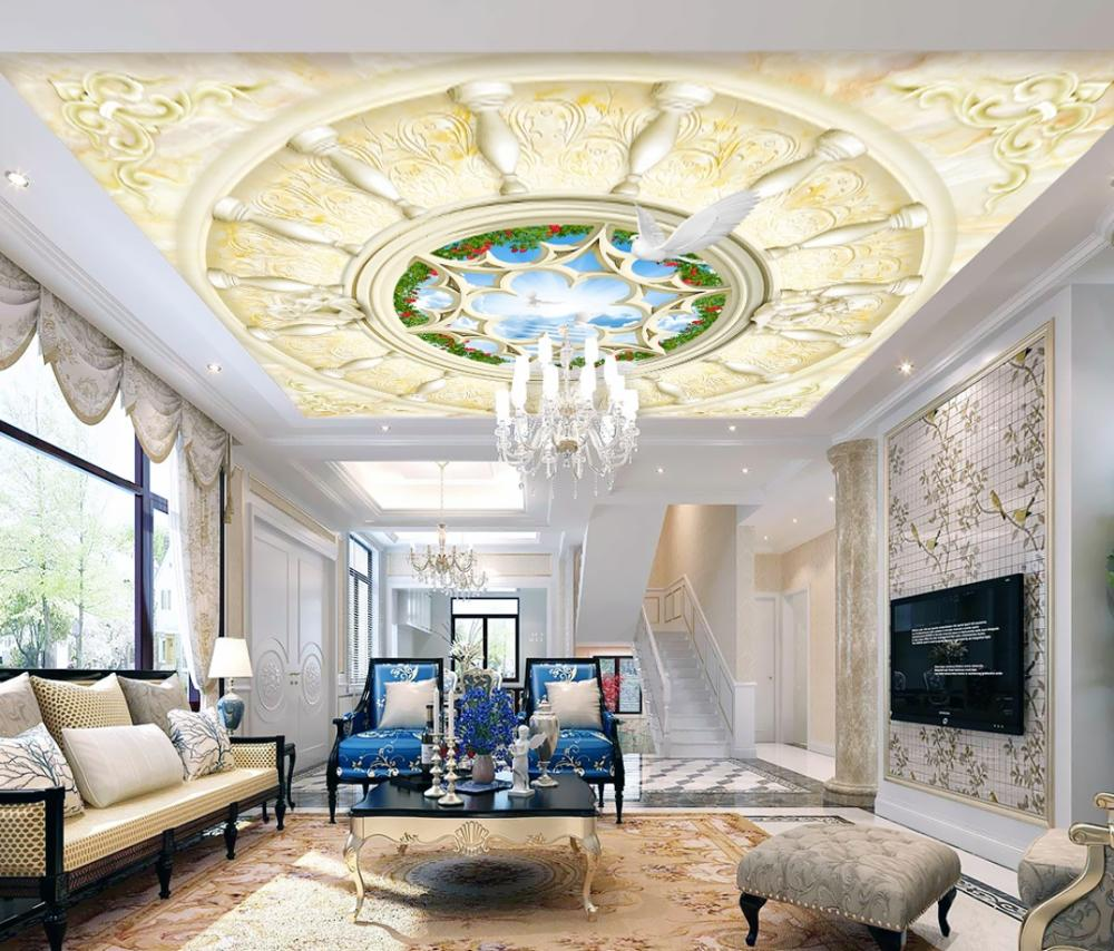 Ceiling Wall Painting Living Room Bedroom Wallpaper Home Decor 3D European Court Garden Marble Ceiling