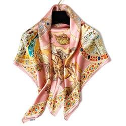 Femminile cross-border vento Europeo e Americano nuovo inverno raso di crepe di seta stampata sciarpe produttori all'ingrosso
