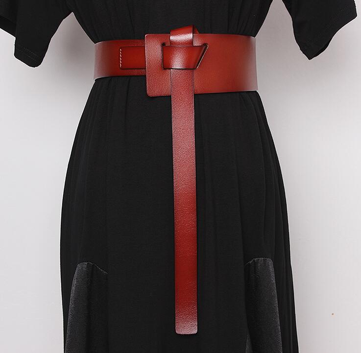 Women's Runway Fashion Genuine Leather Cummerbunds Female Dress Corsets Waistband Belts Decoration Wide Belt R2467