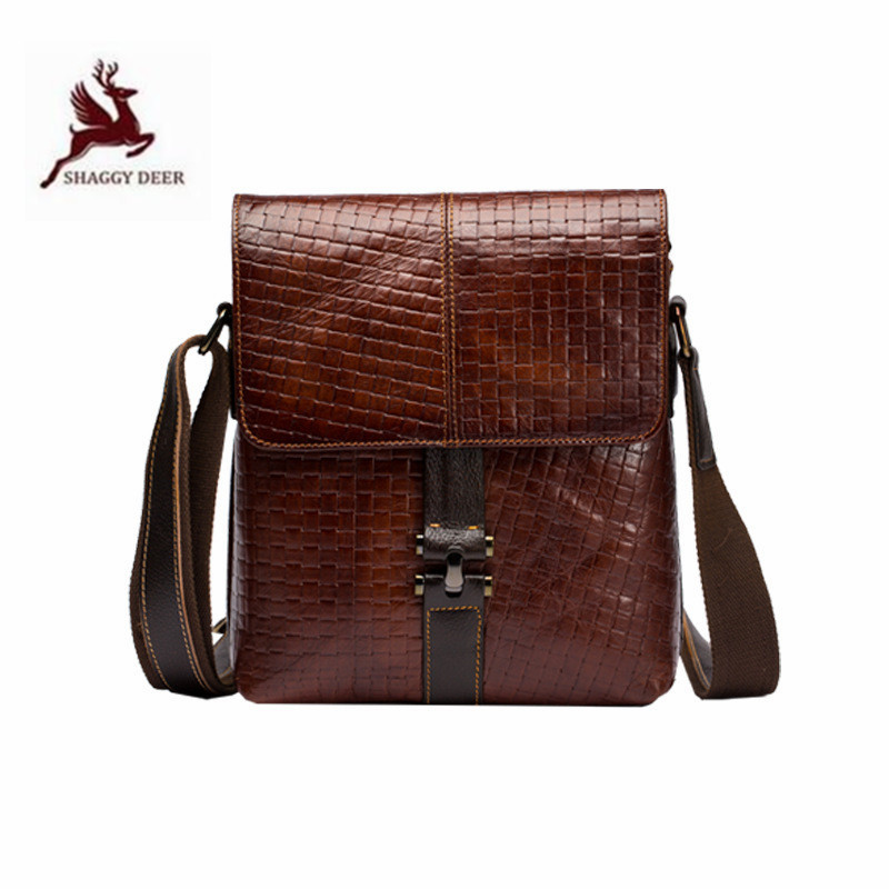 Shoulder-Bags Business-Messenger-Bags Vertical Brown Real-Cowhide Fashion Plaid Office