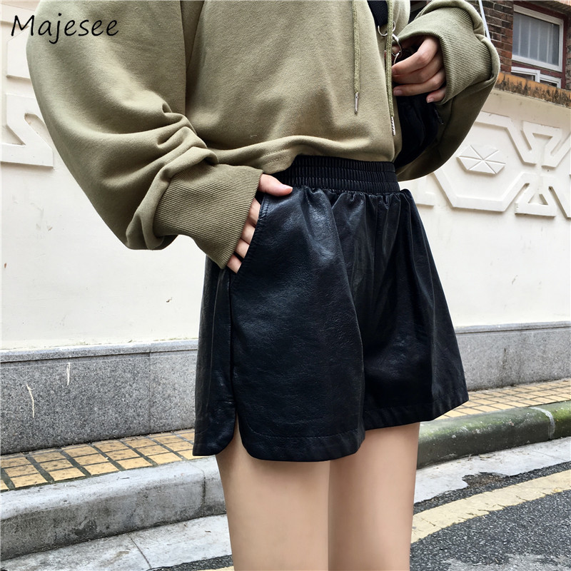Leather Shorts Women Black Casual Loose Slim Womens High Waist Short All Match Pockets Females Harajuku Vintage Korean Fashion