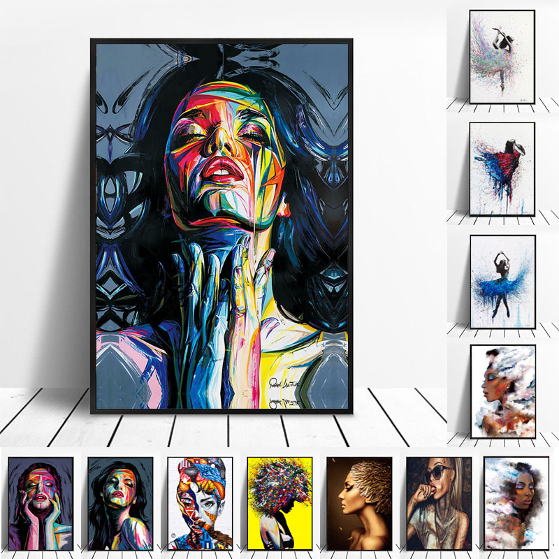 Colorful Woman Abstract Canvas Painting Ballerina Dance Posters and Prints Wall Art Pictures for Living Room Home Decoration
