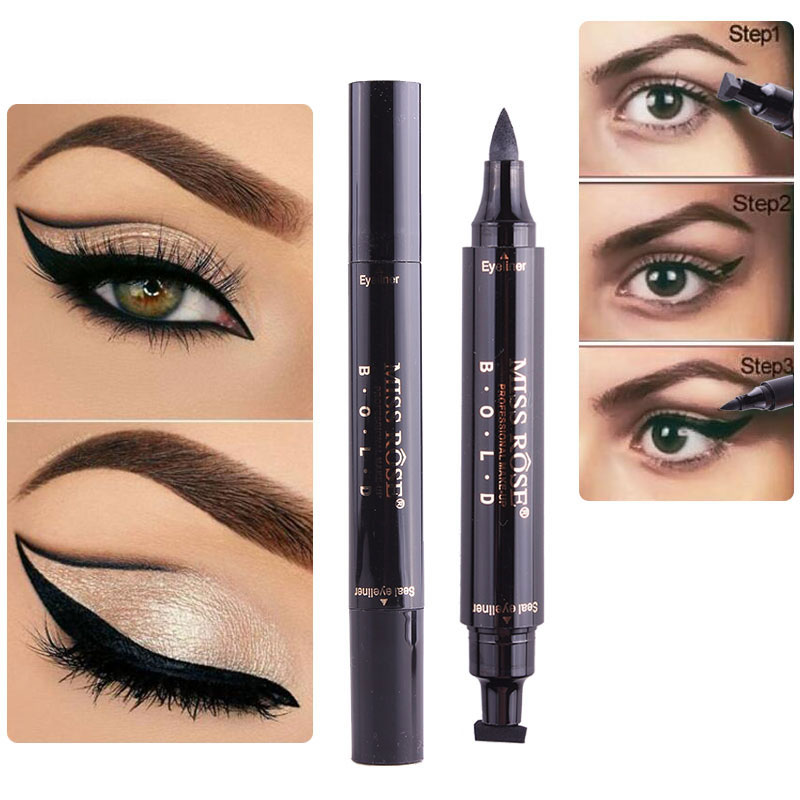 1 Pcs  Black Liquid Eyeliner Pencil Stamp Long-lasting  Waterproof Makeup Quick Dry Double-ended Stamps Wing Eye Eyeliner