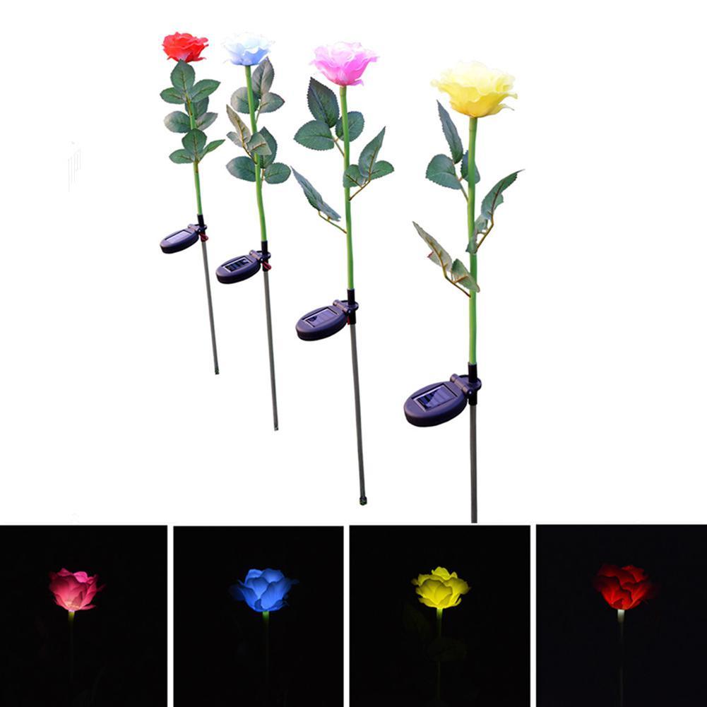 HiMISS Simulate Solar-powered LED Rose Lawn Pin Lamp Landscape Light Festival Yard Garden Decoration