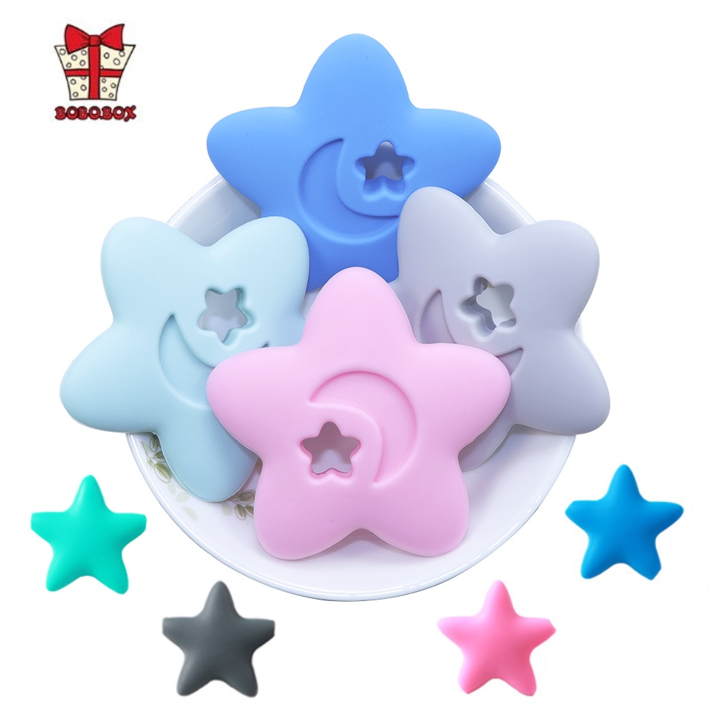 BOBO.BOX 2pcs Silicone Teether Star Food Grade Tiny Rod DIY Teething Necklace Baby Shower Gifts Cartoon Animals Teether BPA Free