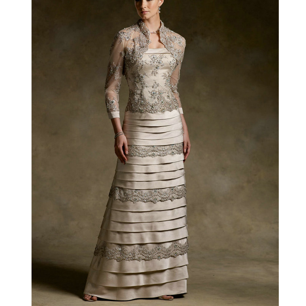 Satin And Lace Layers Ruffles Champagne Mother Of The Bride Dress 2020 With Jacket Three Vestidos De Festa Vestido Longo