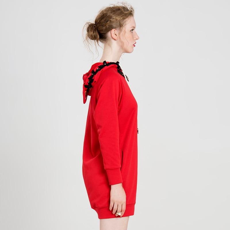 Yigelila свободное красное пальто с длинным рукавом из чистого хлопка, Модный пуловер с капюшоном, толстовка 7649