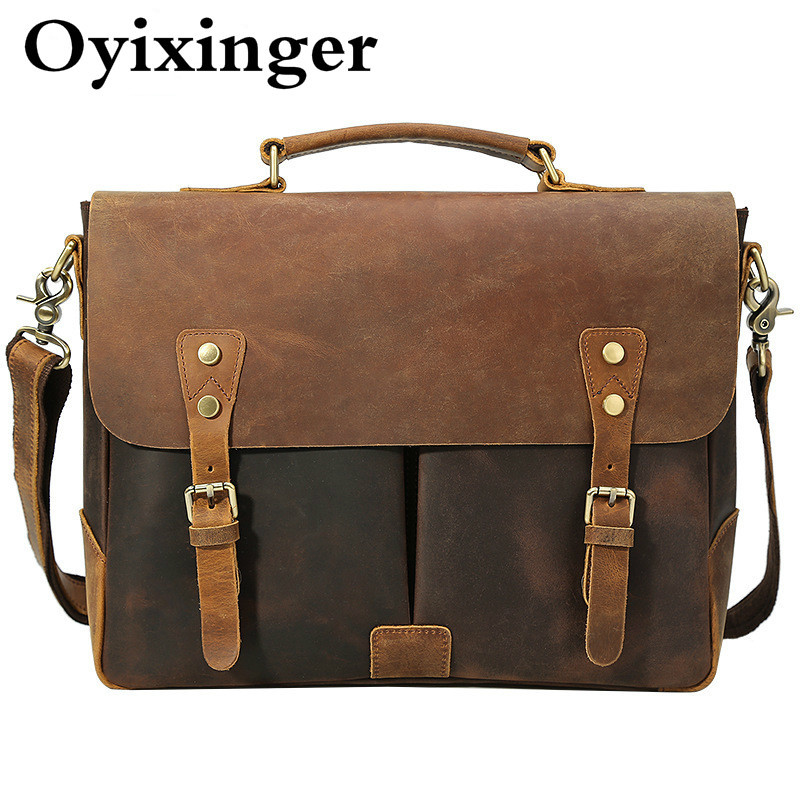 Genuine Leather Man Briefcase England Style School Postman Men Messenger Bag Single Shoulder Satchel Bolsa Masculina Sac Homme