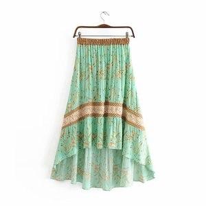 Image 3 - בציר שיק קיץ אופנה נשים פרחוני הדפסת החוף בוהמי חצאית גבוהה אלסטי מותניים מקסי סדיר אונליין Boho חצאית Femme
