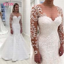 Custom Made Plus Size Sweetheart Mermaid Wedding Dresses 2020 Sheer Lace Long Sleeves Satin Wedding Gowns Cheap Vestido De Noiva(China)