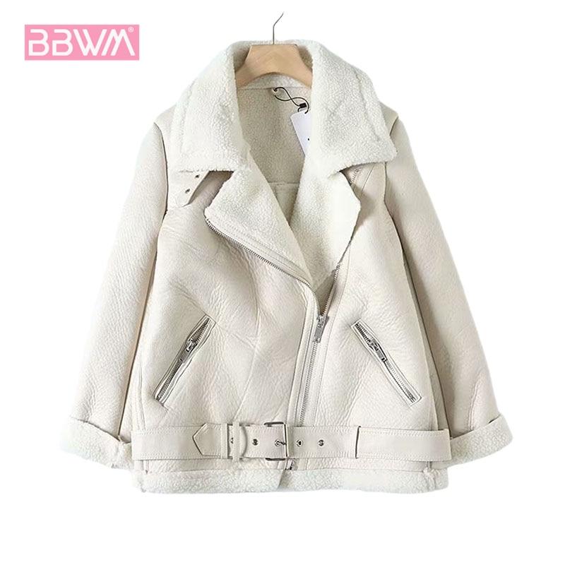 Fur Long Sleeved Loose Belt Warm Women's Jacket Lamb Wool Winter Thickened Locomotive Lapel Female Coat Beige Black Chic PU Top|Jackets| - AliExpress