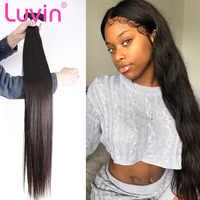Luvin em linha reta 8-40 Polegada remy cabelo brasileiro tecer pacotes 28 30 32 Polegada cor natural 100% feixes de cabelo humano duplo desenhado