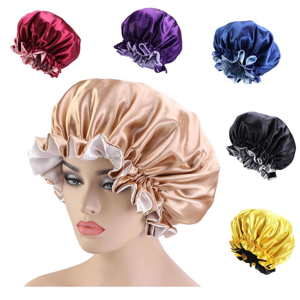 Bonnet Satin Cheveux Nuit New Women Bonnet En Silky Bonnet Sleep Night Cap Head Cover Bonnet Hat for For Curly Springy Hair