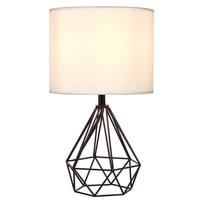 Modern minimalist metal paint rose gold hollow diamond design cloth table lamp personality diamond LED lighting bedroom decor