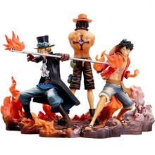 3 unids/set Anime una pieza figura de Portgas D. Ace estatuilla Sabo figura D Luffy figuras de acción de colección de PVC modelo Toys14-17cm