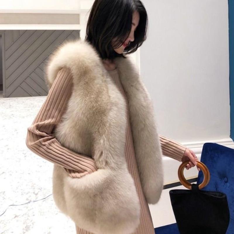 Faux Fur Coat Autumn Winter Women 2019 Fashion Casual Warm Slim Sleeveless Pockets Faux Fox Fur Vest Winter Jacket Women