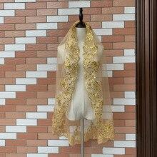 Velo corto de una capa con borde de encaje y lentejuelas brillantes, velo blanco de oro y marfil de la novia, accesorios para deshierbe, velos de boda con peine