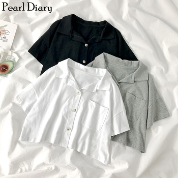 Pearl Diary Women Knit Cropped Polo Shirts Female Button Front Short Top Summer Streetwear Casual Polo Pocket Plus Size Shirt plus button up pocket front pinstripe cami dress
