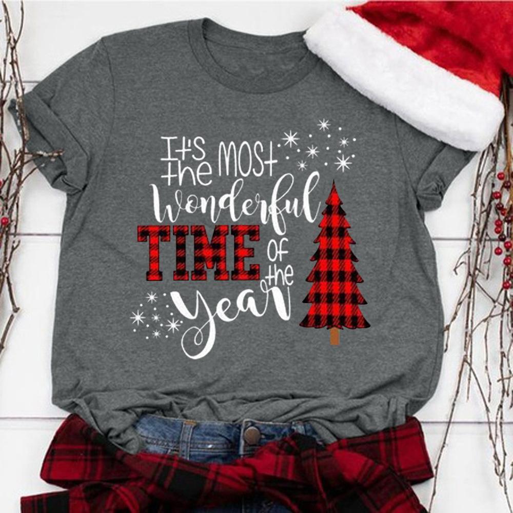 Women T-shirts Tee Womens Fashion Clothes Female Tshirt Harajuku Tee Long Sleeve Shirt Merry Christmas Tree Harajuku Tops 2019