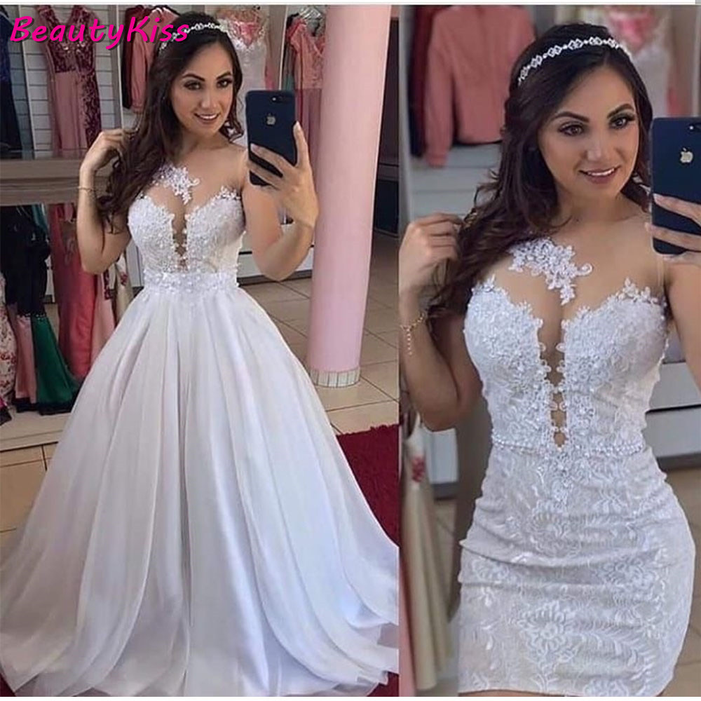 2020 Real Photo Sexy O Neck 2 In 1 Wedding Dress Luxury Vintage Sleeveless Beaded Sequins Lace Bridal Gowns Floor Length