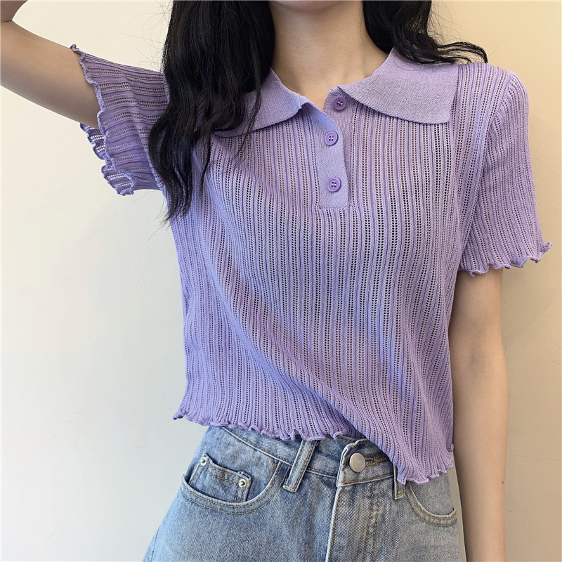 Summer Ladies Polo Shirt Women Shorts Short Sleeve White Solid Cropped Polo Shirts Mujer Streetwear