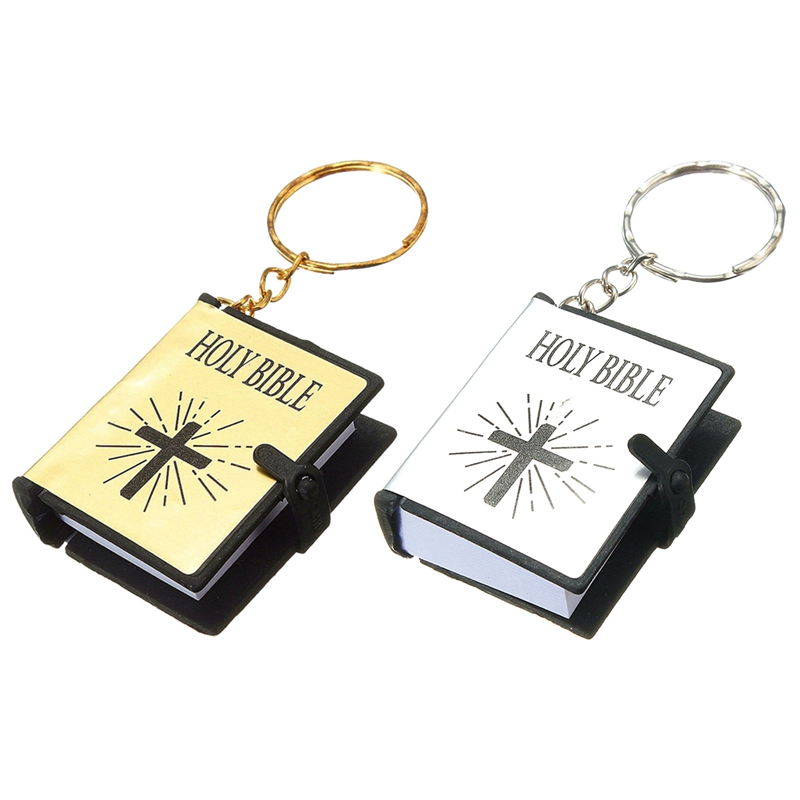 2 Pcs Key Ring Of Bible Bible In English Christian Gift Sunday School , Gold With Silver